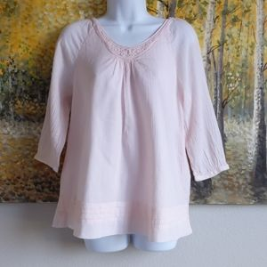 Soft Surroundings Embroidered Gauze Top - XS